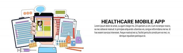 Modelo de banner horizontal de conceito de aplicativo móvel de cuidados de saúde