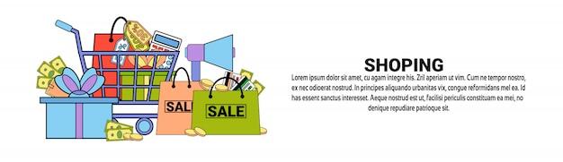 Modelo de banner horizontal de conceito de comércio de compras