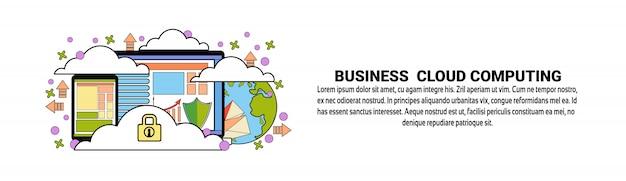Modelo de banner horizontal de conceito de computação de nuvem de negócios