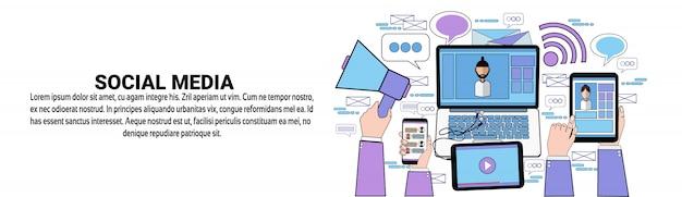 Modelo de banner horizontal de conceito de conteúdo de comunicação de mídia social