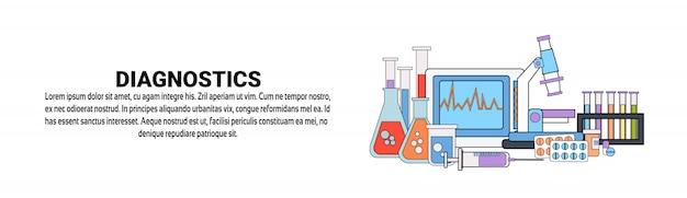 Modelo de banner horizontal de conceito de cuidados de saúde de medicina de diagnóstico