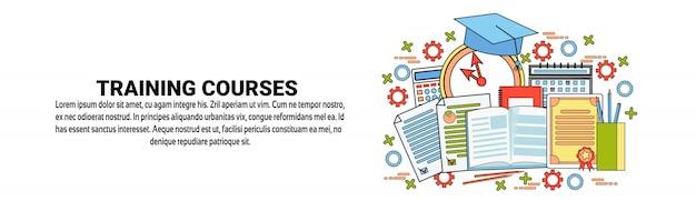 Modelo de banner horizontal de conceito de cursos de formação