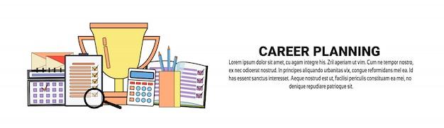 Modelo de banner horizontal de conceito de desenvolvimento pessoal de planejamento de carreira
