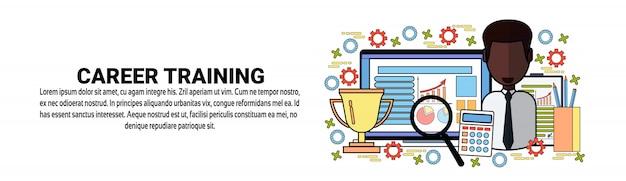 Modelo de banner horizontal de conceito de desenvolvimento pessoal de treinamento de carreira