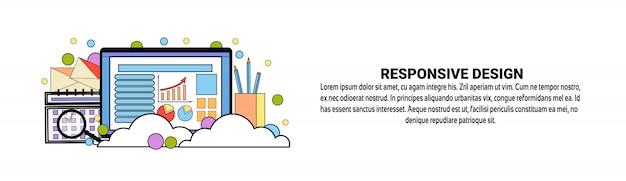 Modelo de banner horizontal de conceito de design responsivo