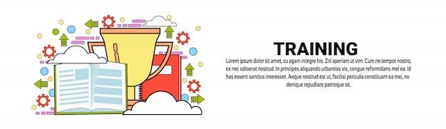 Modelo de banner horizontal de conceito de educação de negócios de formação