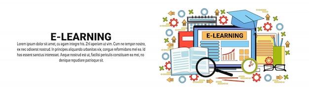 Modelo de banner horizontal de conceito de educação on-line de e-learning