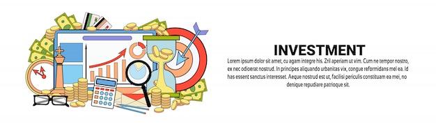 Modelo de banner horizontal de conceito de financiamento de negócios de investimento