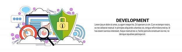 Modelo de banner horizontal de conceito de negócio de desenvolvimento web