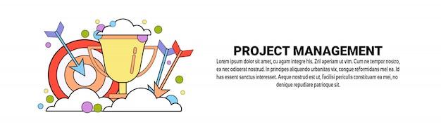 Modelo de banner horizontal de conceito de negócio de gestão de projetos
