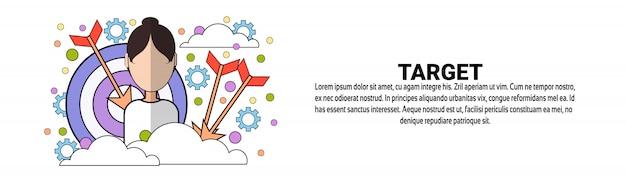 Modelo de banner horizontal de conceito de objetivo de negócio alvo