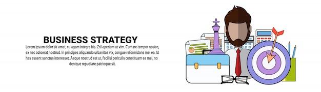 Modelo de banner horizontal de conceito de plano de estratégia de negócios