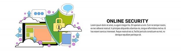 Modelo de banner horizontal de conceito de proteção de dados de segurança on-line