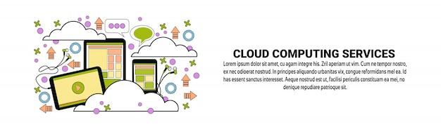 Modelo de banner horizontal de conceito de serviços de computação em nuvem