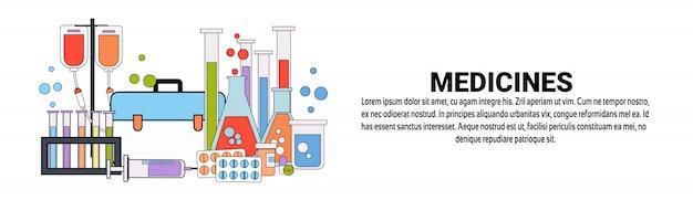 Modelo de banner horizontal de conceito de tratamento médico de medicamentos