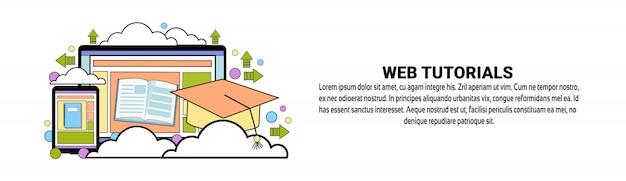 Modelo de banner horizontal de conceito de tutorial em vídeo