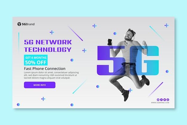 Modelo de banner horizontal de conexão 5g