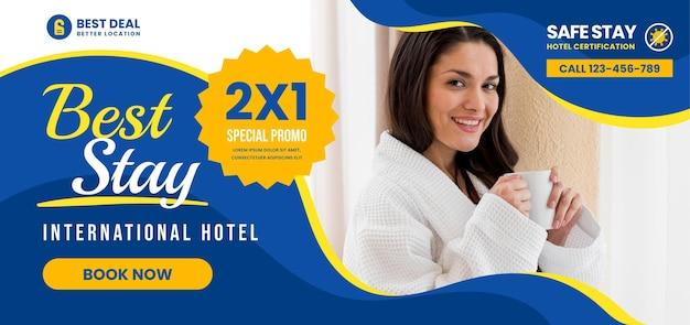 Modelo de banner horizontal de hotel com foto