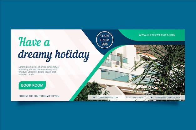 Modelo de banner horizontal de hotel plano com foto