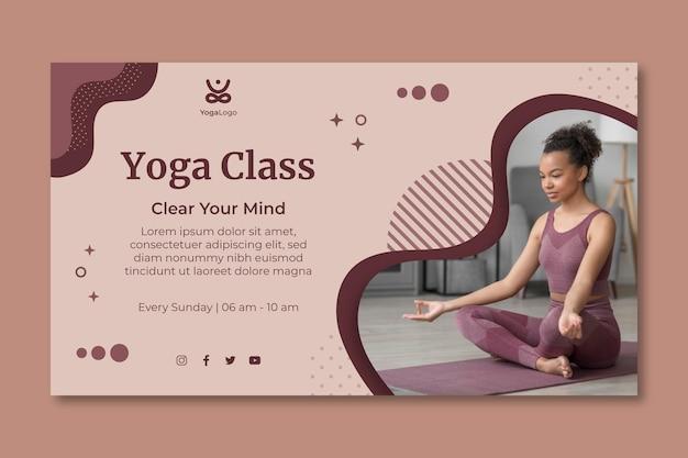 Modelo de banner horizontal de ioga em casa