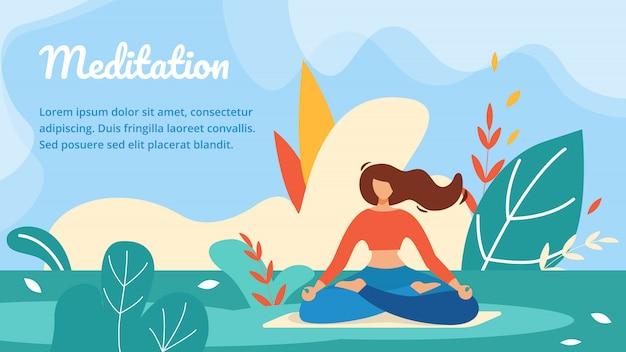 Modelo de banner horizontal de meditação