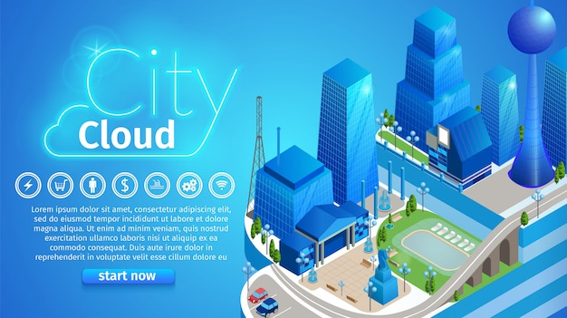 Modelo de banner horizontal de nuvem de cidade
