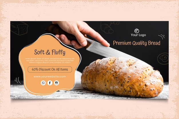 Modelo de banner horizontal de pão