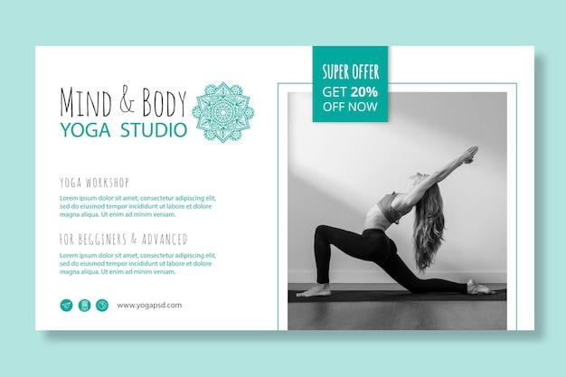 Modelo de banner horizontal de prática de ioga