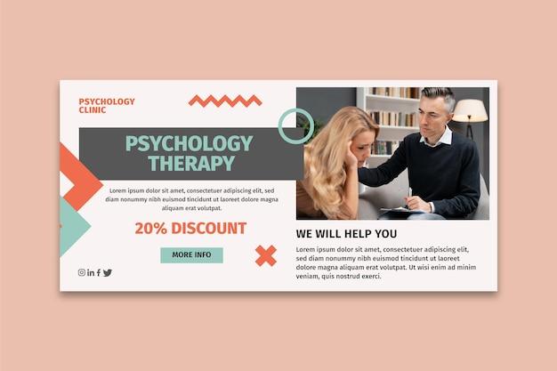 Modelo de banner horizontal de psicologia