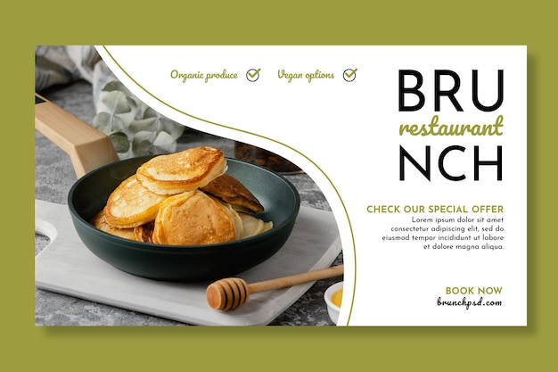 Modelo de banner horizontal de restaurante de brunch