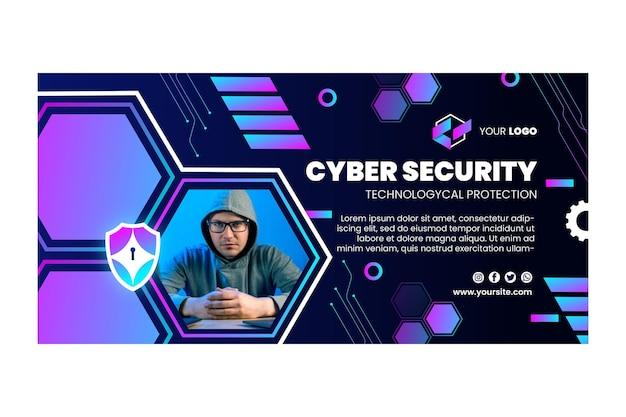 Modelo de banner horizontal de segurança cibernética