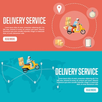 Modelo de banner horizontal de serviço de entrega