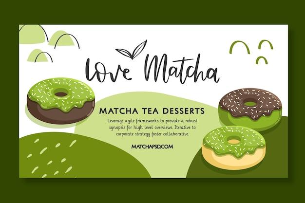 Modelo de banner horizontal de sobremesa de chá matcha