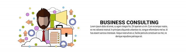 Modelo de banner horizontal de suporte de consultoria de negócios
