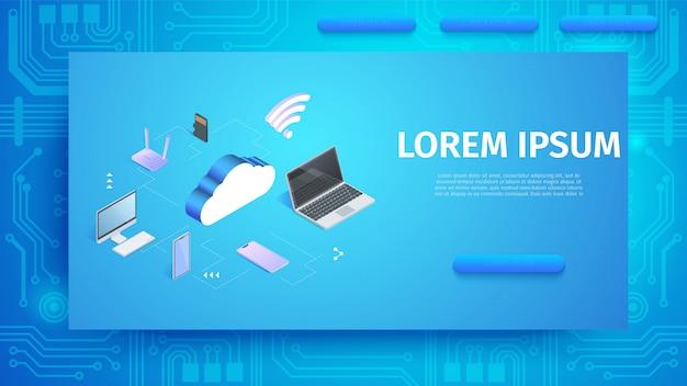 Modelo de banner horizontal de tecnologia de nuvem