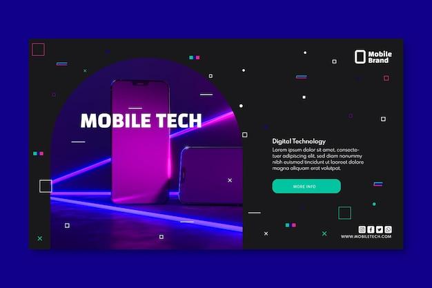 Modelo de banner horizontal de tecnologia móvel