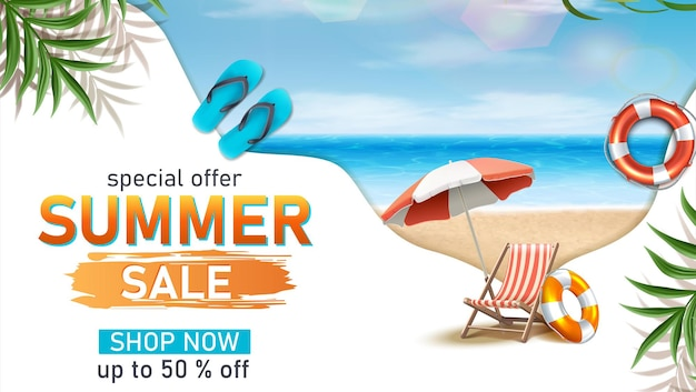 Modelo de banner horizontal de venda de verão com guarda-sol e apartamentos com elementos de praia de verão