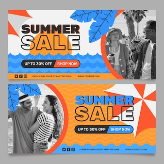 Modelo de banner horizontal de venda plana de verão com foto