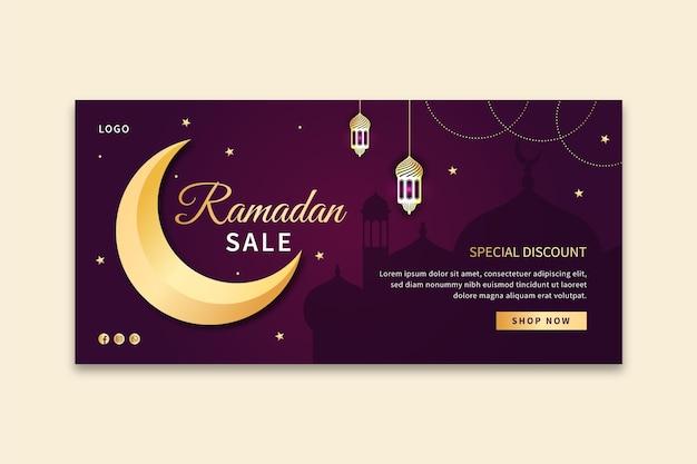 Modelo de banner horizontal de venda ramadan