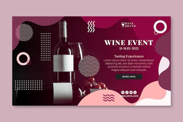 Modelo de banner horizontal de vinho