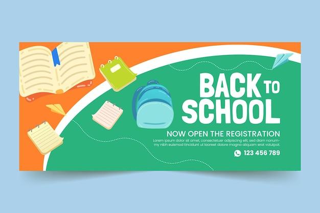Modelo de banner horizontal de volta às aulas em desenho animado