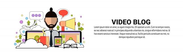 Modelo de banner horizontal do conceito de conteúdo de blog de vídeo