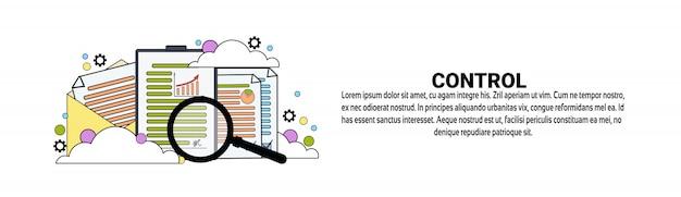 Modelo de banner horizontal do conceito de negócio de controle de negócios