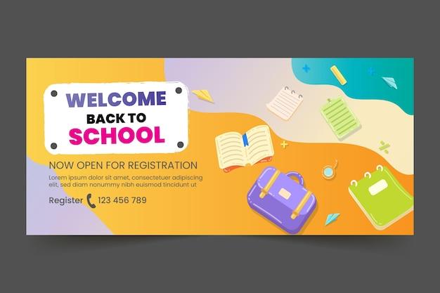 Modelo de banner horizontal gradiente de volta à escola