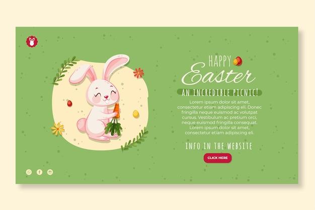 Modelo de banner horizontal para a páscoa com coelho e cenoura