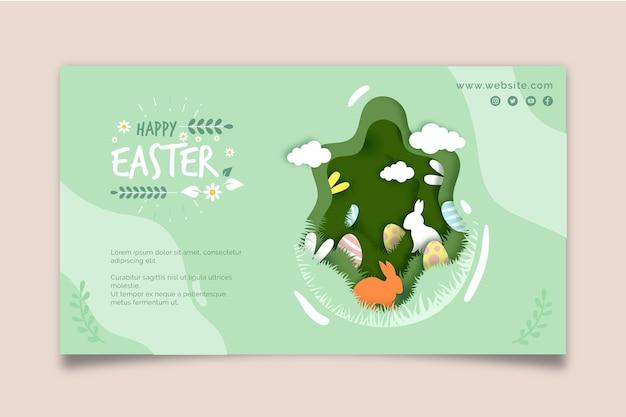 Modelo de banner horizontal para a páscoa com coelho e ovos