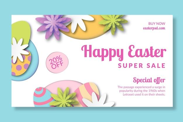 Modelo de banner horizontal para a páscoa com ovos e flores