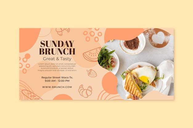 Modelo de banner horizontal para brunch de domingo
