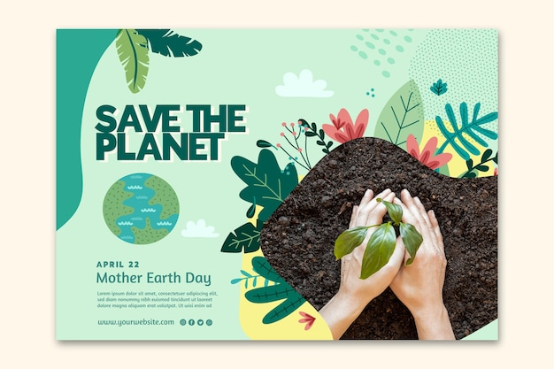 Modelo de banner horizontal para celebração do dia da mãe terra