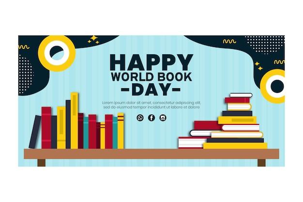 Modelo de banner horizontal para celebração do dia mundial do livro
